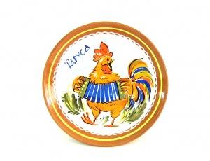 Тарелка (панно) Сюжетная (d-180мм) - Арт. 077Тр-01-Петух с гармошкой